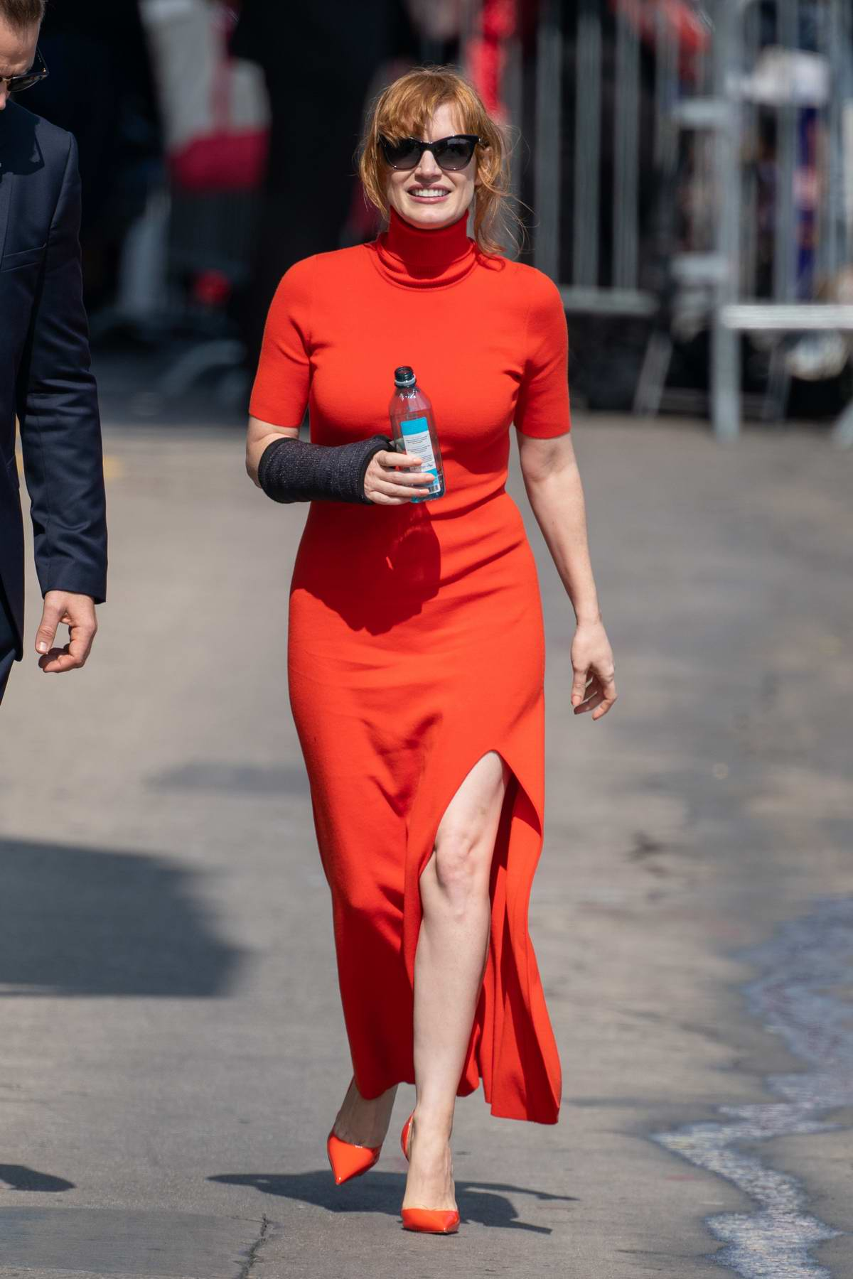 Jessica Chastain looks striking in red as she arrives for an appearance on 'Jimmy Kimmel Live!' in Hollywood, California
