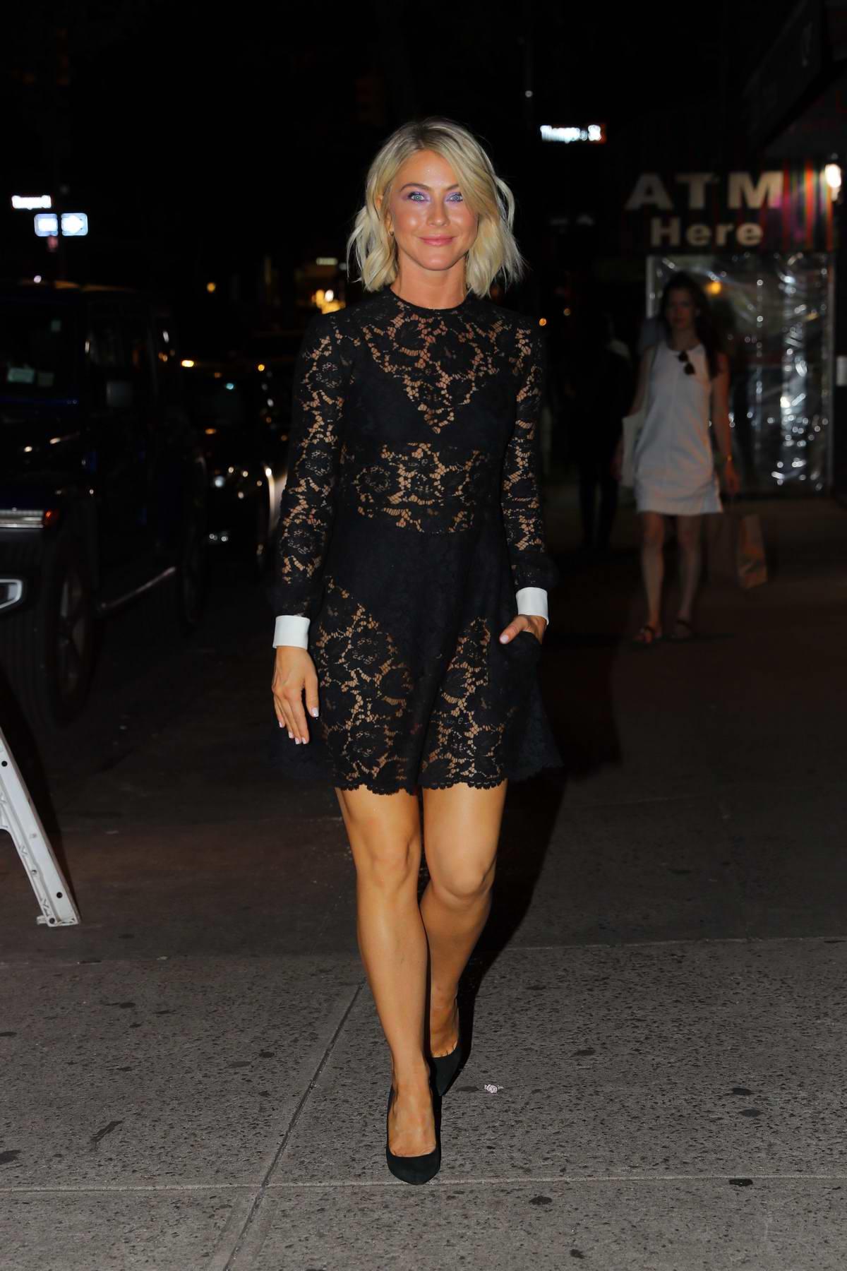 Julianne Hough dons a sheer black dress for dinner at Raul's in New York City
