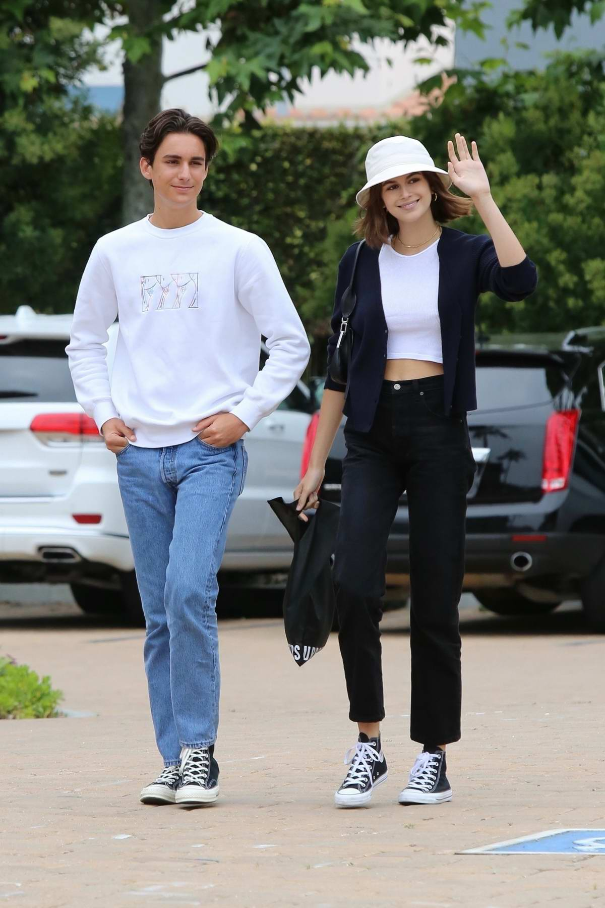 Kaia Gerber keeps it casual as she steps out for some shopping with a friend in Malibu, California