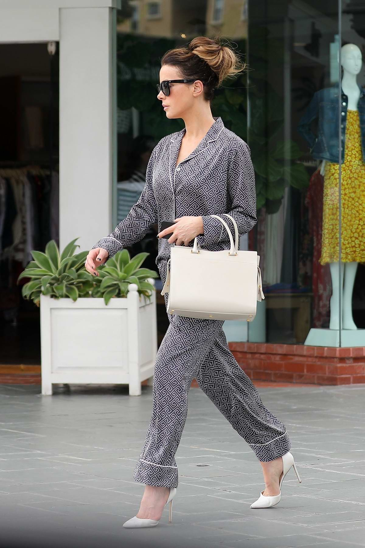Kate Beckinsale seen wearing pajama-like ensemble while on a shopping trip in Brentwood, Los Angeles