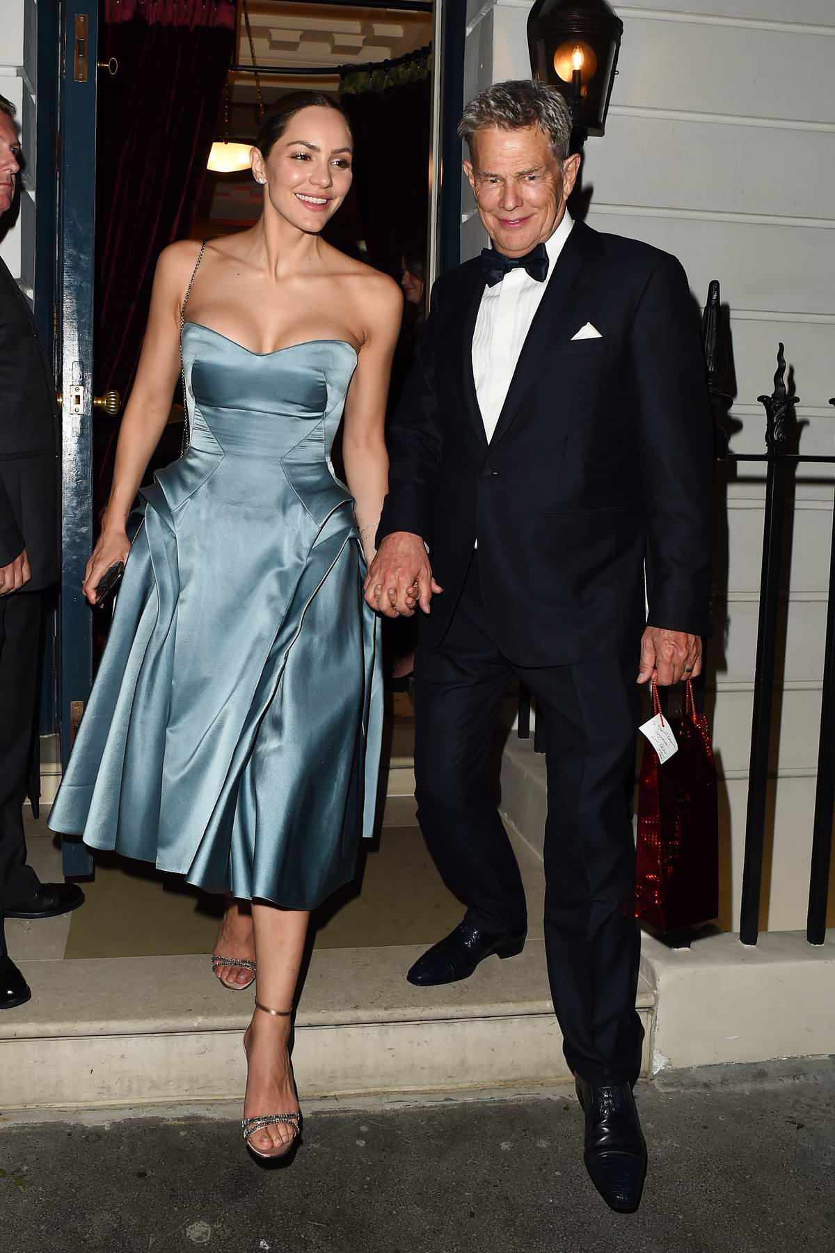 Katharine McPhee and David Foster seen leaving their wedding reception at 25 Albermarle St. Mayfair in London, UK