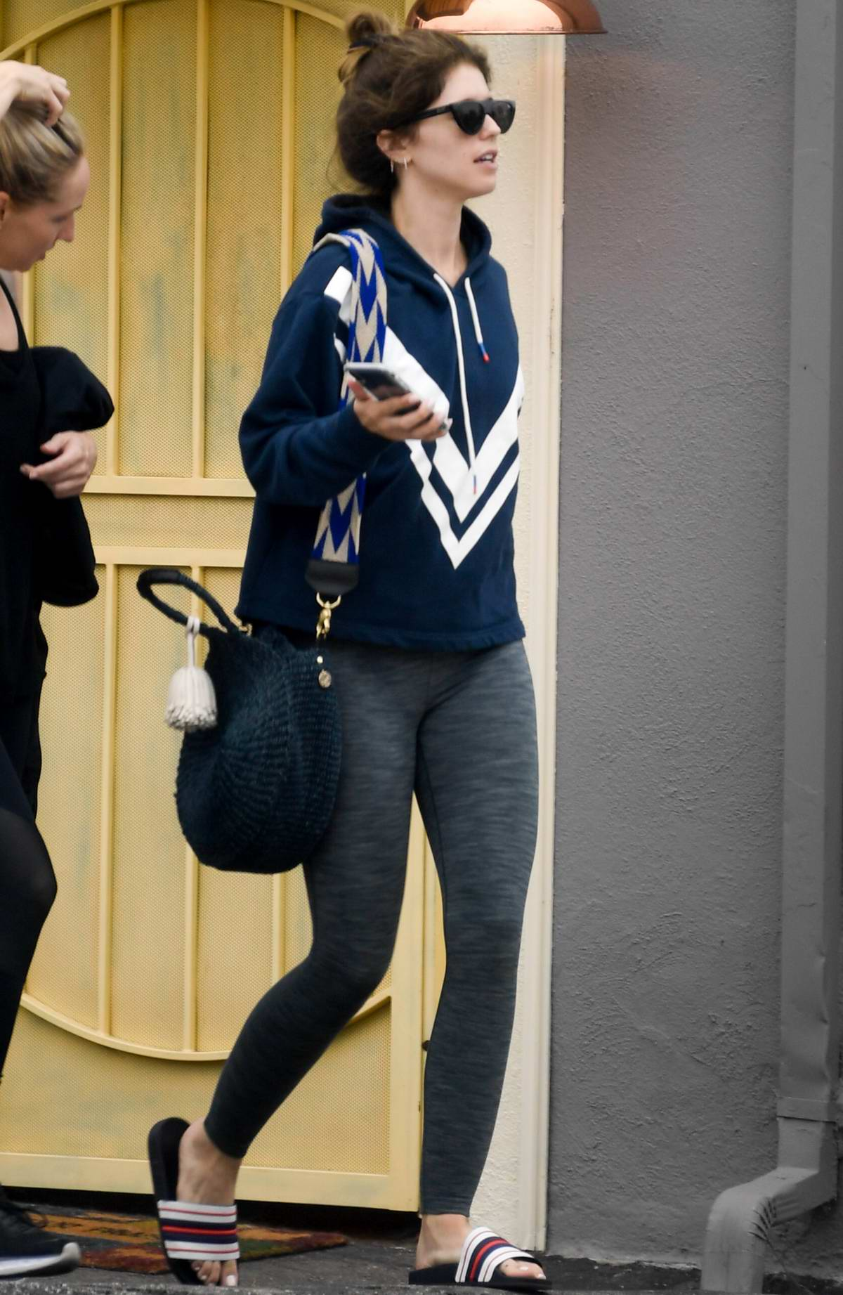 Katherine Schwarzenegger keeps it casual with a hoodie and leggings as she leaves the gym in Brentwood, Los Angeles