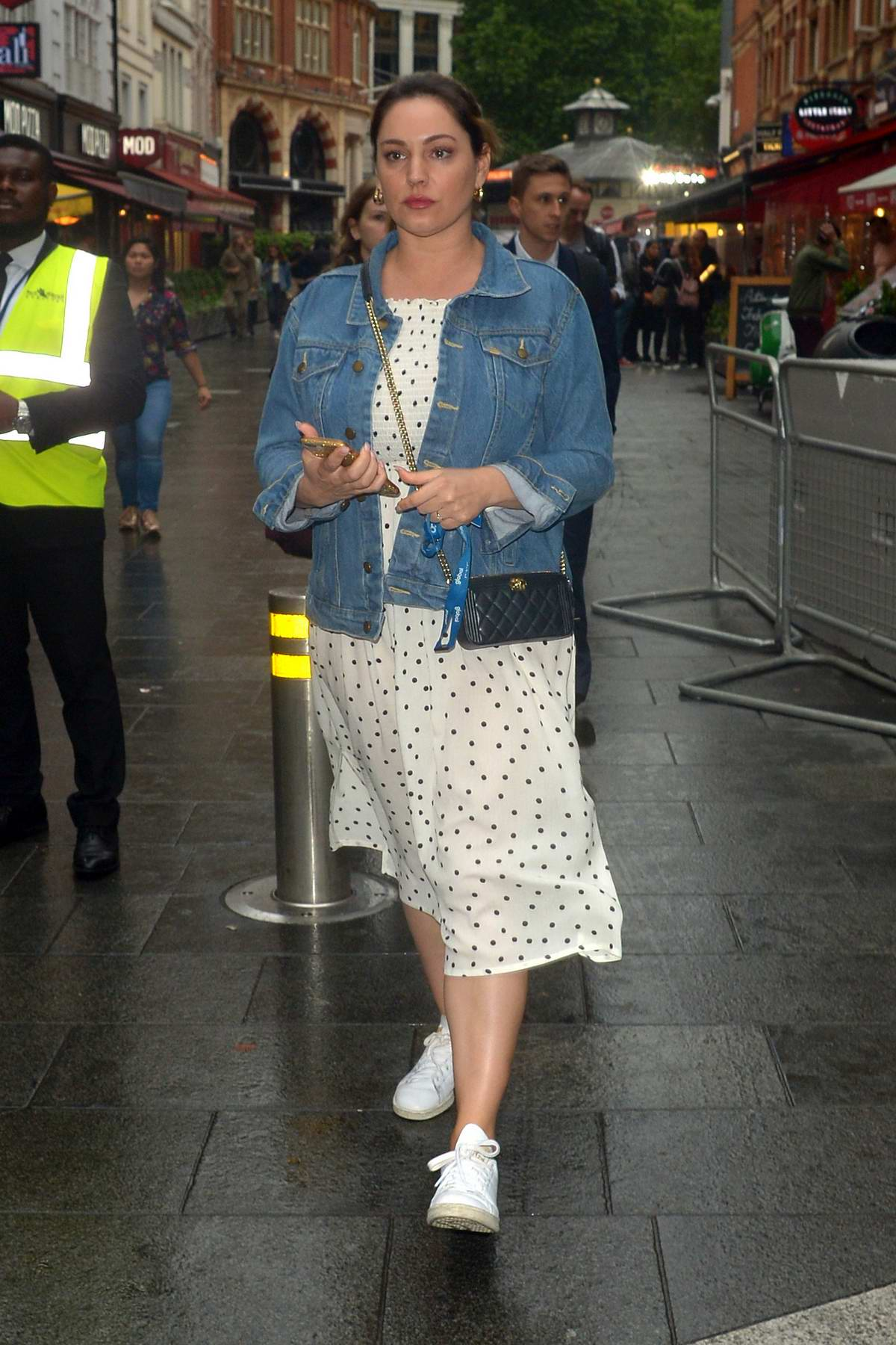 Kelly Brook looked somber while heading to Global Radio Studios in London, UK