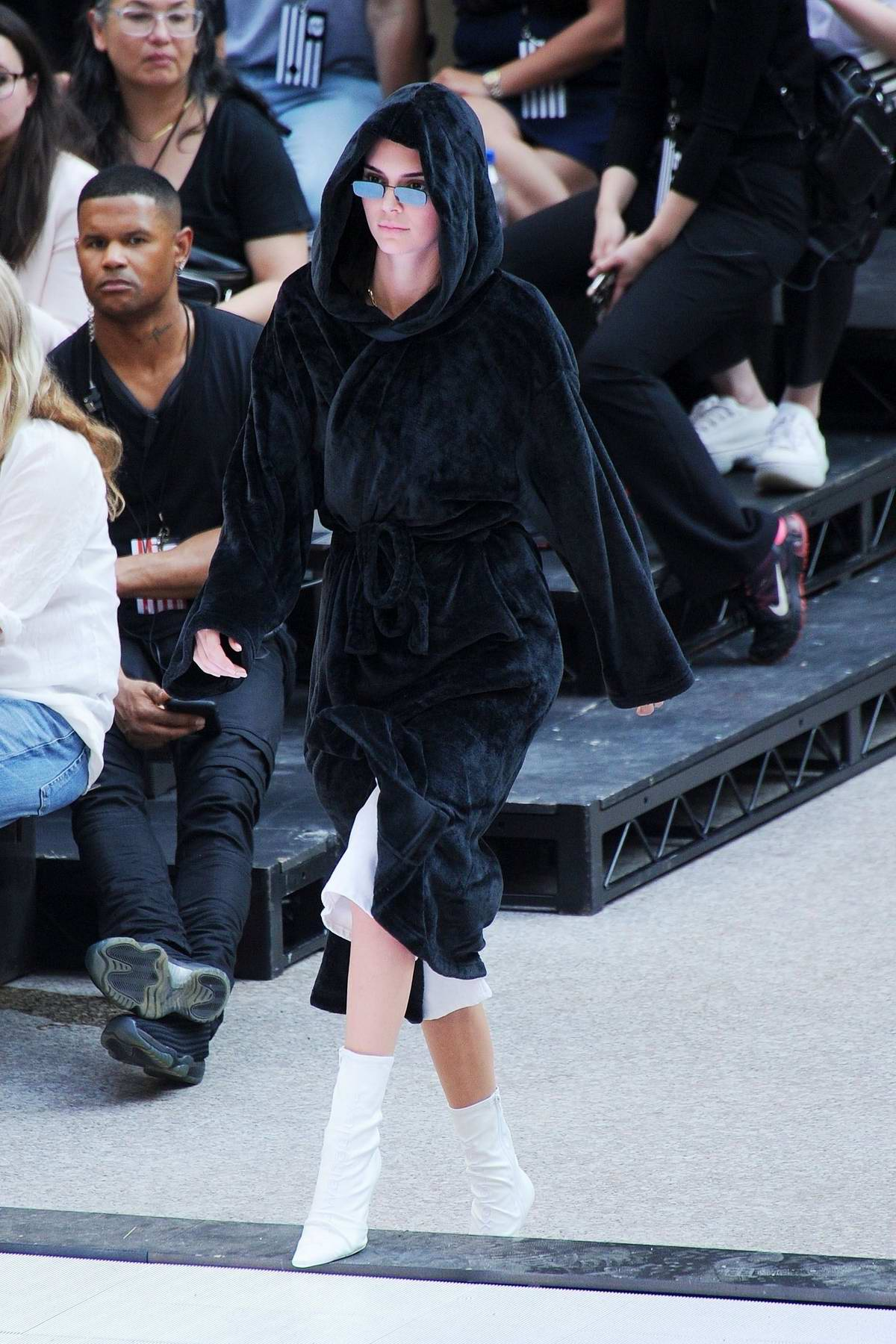 Kendall Jenner and Kaia Gerber rehearse ahead of the Alexander Wang fashion show at the Rockefeller Center in New York City