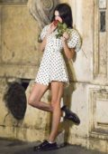Kendall Jenner looks great in polka dots while enjoying dinner with friends at Pierluigi's in Rome, Italy