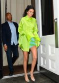 Kendall Jenner looks striking in neon green as she steps out in SoHo in New York City