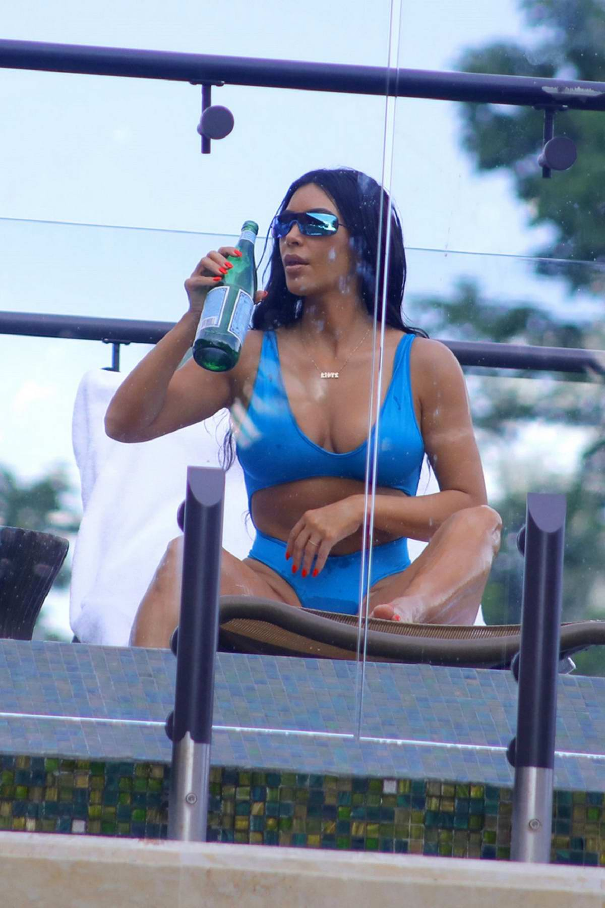 Kim Kardashian relaxes in blue bikini while on a family vacation in Puntarenas, Costa Rica