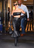 Lady Gaga steps out of the Mark Hotel rocking an all-black leather look in New York City