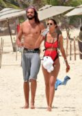 Lais Ribeiro spotted in a red bikini while enjoying a walk on the beach with Joakim Noah in Tulum, Mexico