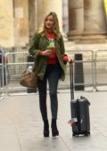 Laura Whitmore seen arriving at BBC Broadcasting House in London, UK