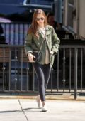 Lily Collins grabs lunch with a friend at Hugo's in West Hollywood, Los Angeles