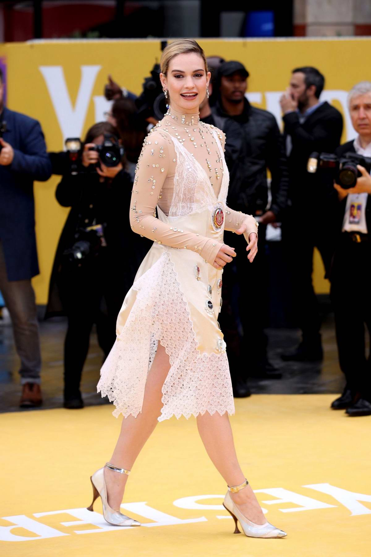 Lily James attends the UK Premiere of 'Yesterday' at Odeon Luxe Leicester Square in London, UK