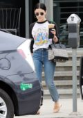 Lucy Hale cuts a casual figure in a baseball tee and denim during a morning coffee run in Studio City, Los Angeles