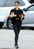 Lucy Hale dons all-black for her morning coffee run at Alfred's in Los Angeles