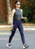 Lucy Hale ends a hike with her dog Elvis on Fryman Canyon Loop Trail in Los Angeles
