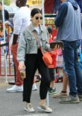 Lucy Hale enjoys a day out with her family at the local farmer's market in Studio City, Los Angeles