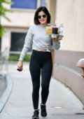 Lucy Hale picks up a few cold drinks as she leaves a coffee shop in Los Angeles