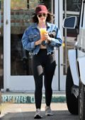 Lucy Hale stops by for a couple of Iced drinks at The Coffee Bean & Tea Leaf in Studio City, Los Angeles