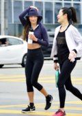Maggie Q seen leaving the gym in a cropped hoodie and Nike leggings and trainers in West Hollywood, Los Angeles