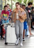 Maia Mitchell and Rudy Mancuso get ready to board at Cancun airport in Tulum, Mexico