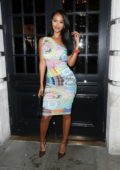 Maya Jama is all smiles as she arrives at Berners Tavern in London, UK