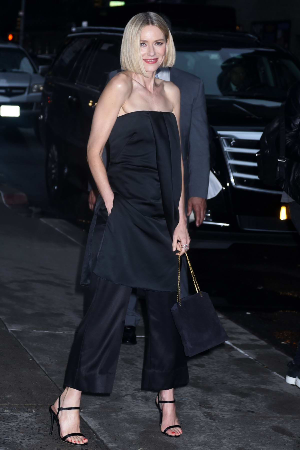 Naomi Watts looks classy in all-black ensemble while visiting 'The Late Show With Stephen Colbert' in New York City