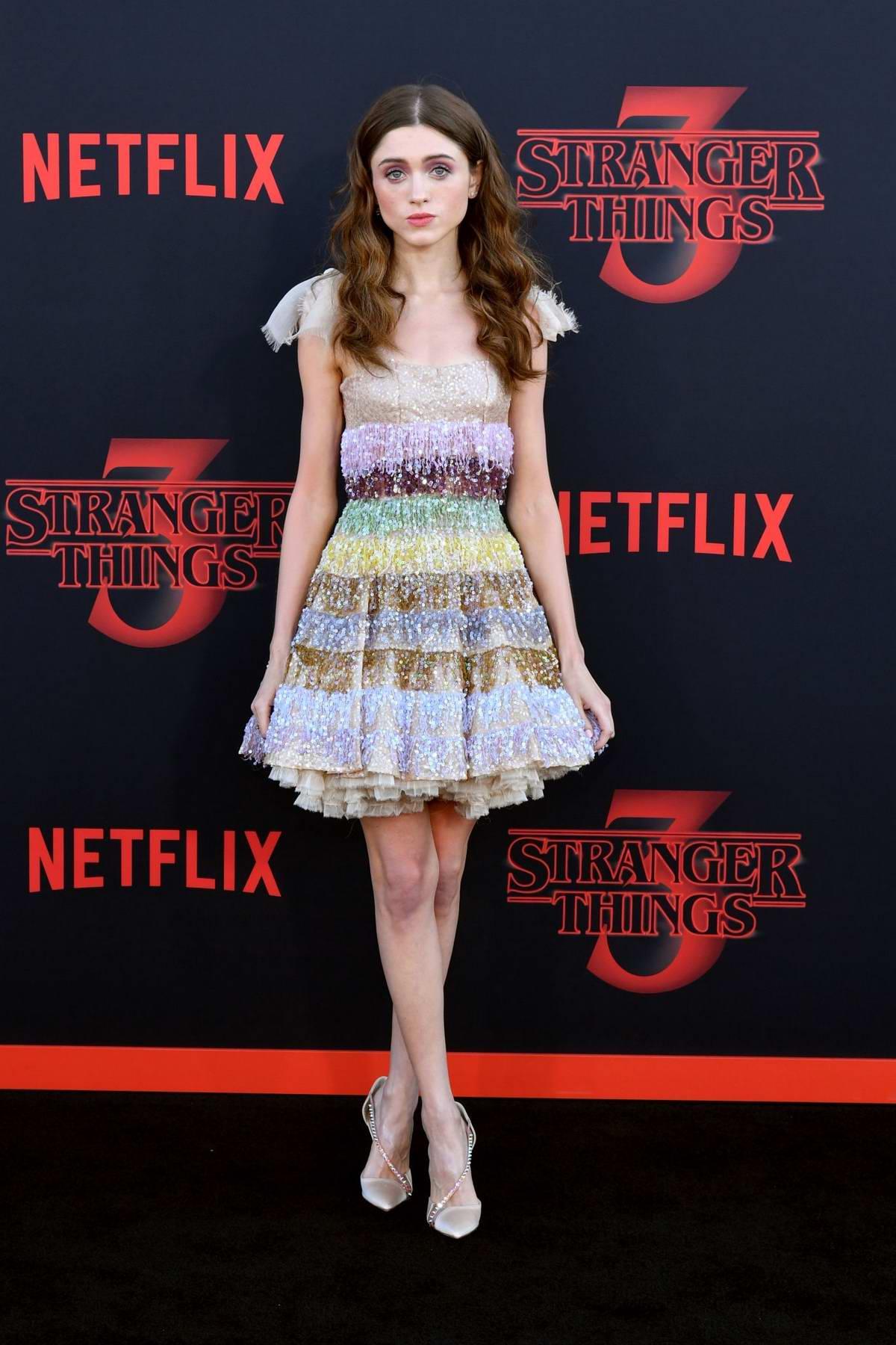 Natalia Dyer attends the premiere of Netflix's 'Stranger Things' Season 3 in Santa Monica, California
