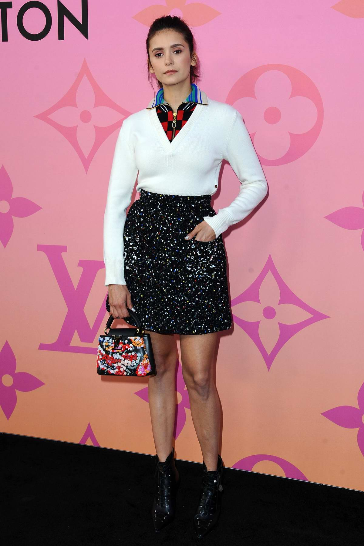 Nina Dobrev attends the Louis Vuitton X Cocktail Party in Beverly Hills, Los Angeles