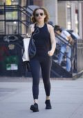 Olivia Cooke sports tank top and leggings as she heads to the gym in New York City