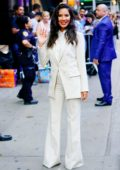 Olivia Munn looks fashionable in a suit while visiting Good Morning America in New York City