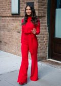 Olivia Munn looks striking in red while visiting 'The Daily Show with Trevor Noah' in New York City