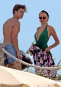 Pixie Lott and Oliver Cheshire enjoy a day on the yacht while on holiday in Formentera, Spain