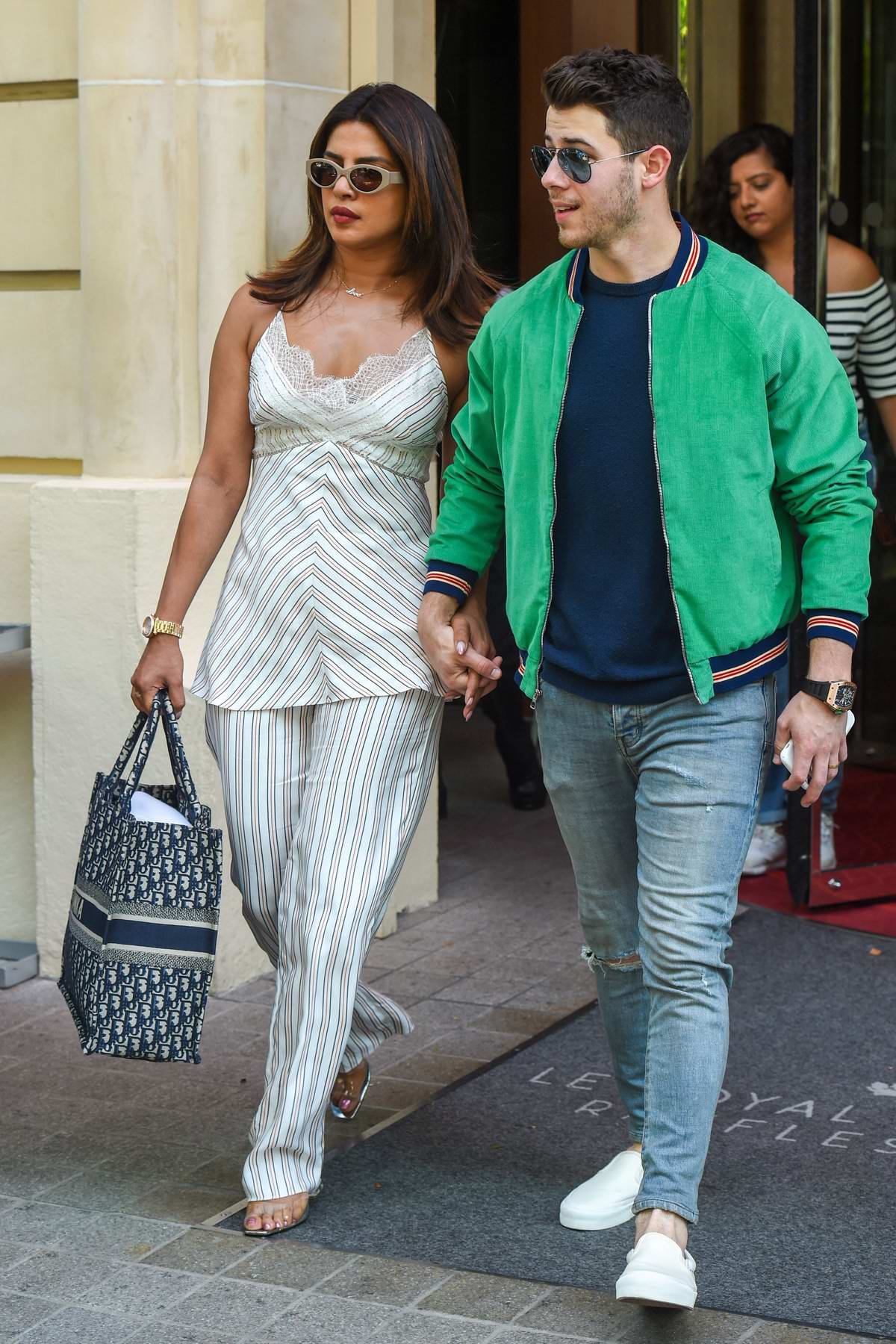 Priyanka Chopra and Nick Jonas seen leaving their hotel in Paris, France