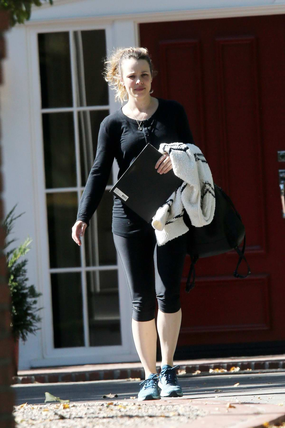 Rachel McAdams spotted in a black top with matching capri leggings while out in Studio City, Los Angeles