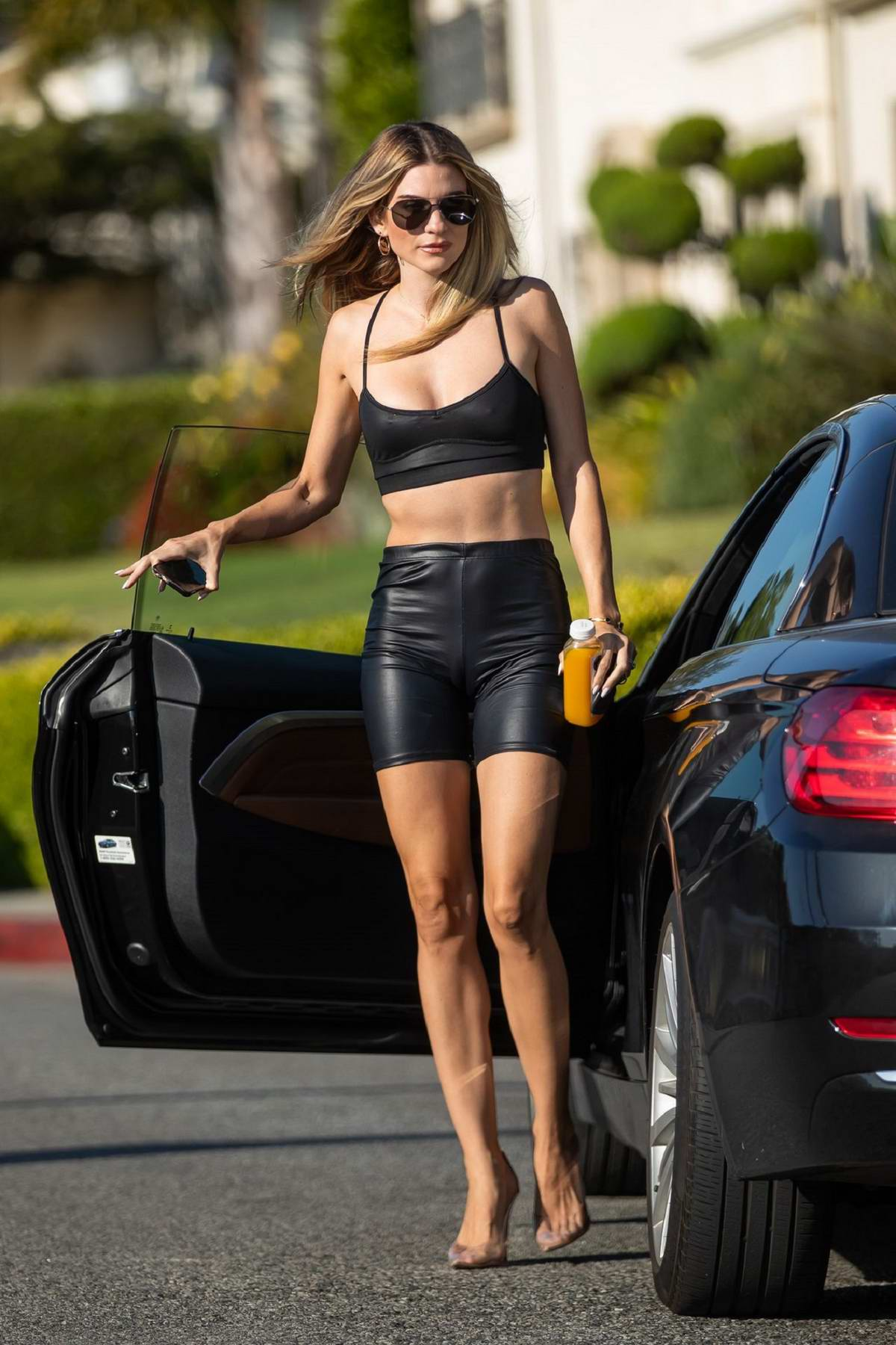 Rachel McCord rocked a black crop top with matching biker shorts while out for a hike in Los Angeles