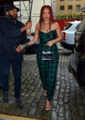 Rihanna dons plaids as she arrives for an appearance on 'Late Night with Seth Meyers' in New York City