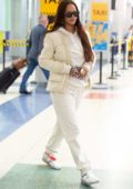Rihanna looks stylish in all-white as she arrives at JFK Airport in New York City