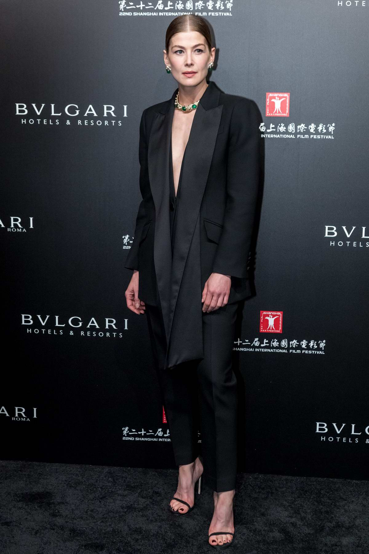 Rosamund Pike attends the 22nd Shanghai International Film Festival - Opening ceremony for Bvlgari in Shanghai, China