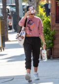 Sarah Hyland spotted in a pink sweatshirt as she leaves a gym in Los Angeles