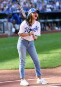 Selena Gomez at the Big Slick celebrity softball game at Kauffman Stadium in Kansas City, Missouri