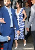 Selena Gomez looks lovely in a blue and white dress while visiting 'Live with Kelly & Ryan' in New York City