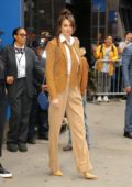 Shailene Woodley looks classy in a brown suit as she leaves Good Morning America in New York City