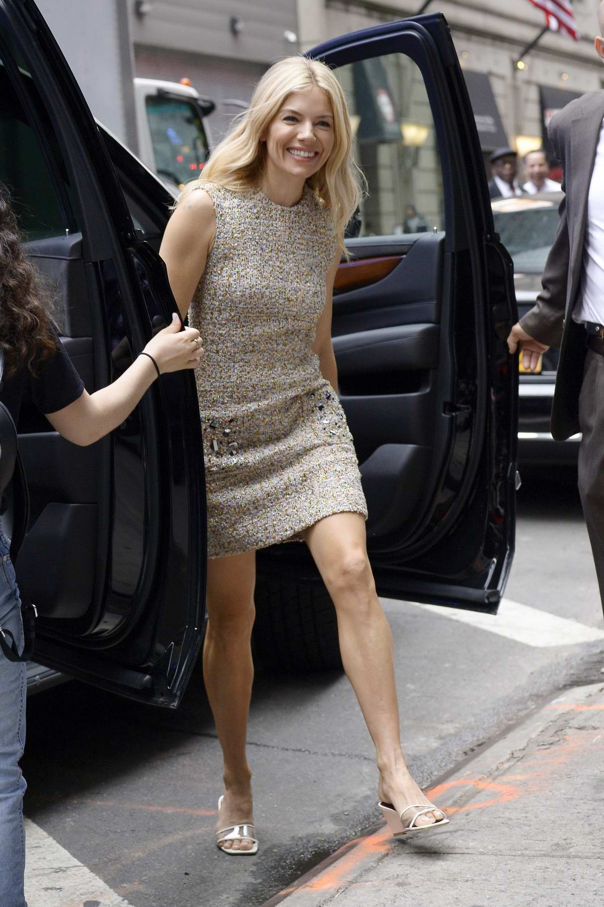 Sienna Miller is all smiles as she arrives at the Good Morning in New York City