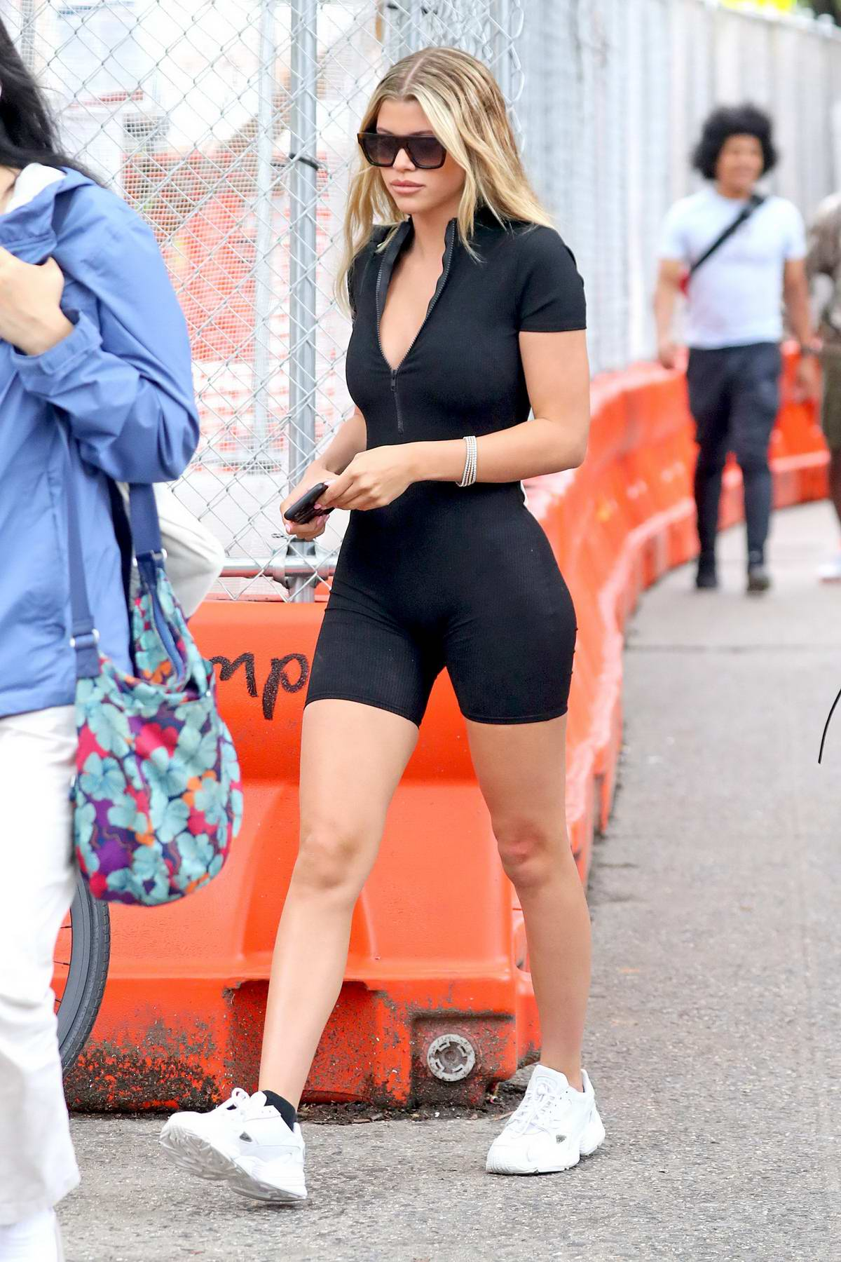 Sofia Richie rocks a black skin-tight romper while out in New York City