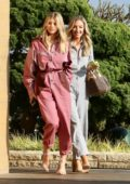Sofia Richie wears a pink jumpsuit for lunch with a friend at Nobu in Malibu, California