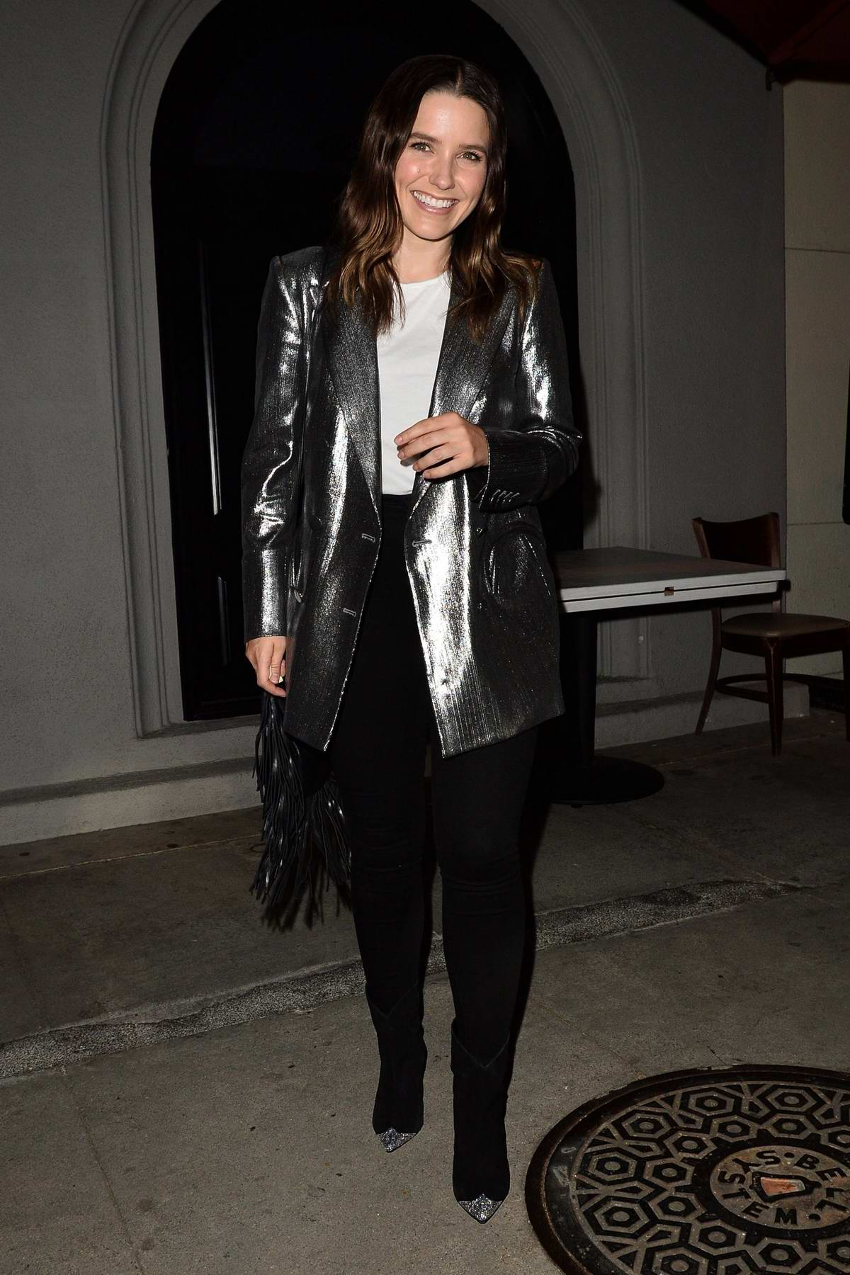 Sophia Bush sparkles in silver as she leaves dinner at Craig's in West Hollywood, Los Angeles
