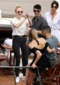 Sophie Turner, Joe Jonas, Priyanka Chopra and Nick Jonas are seen on their way to a boat cruise on the River Seine in Paris, France