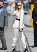 Sophie Turner looks chic in a white suit as she arrives at the El Capitan Entertainment Centre in Hollywood, California