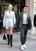 Sophie Turner looks stunning in a white dress as she heads out with Joe Jonas in Paris, France