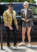 Sophie Turner looks trendy in a plaid blazer and denim shorts as she steps out with Joe Jonas in Paris, France